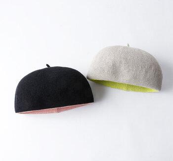 どんぐりの帽子みたいなキュートなベレー。通気性も良く涼しげだから、夏のおしゃれのポイントに大活躍しそうですね。