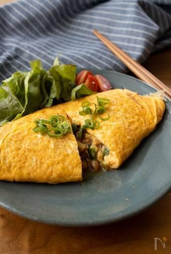 納豆料理の中でも実は人気の高いオムレツ。こちらは長芋と合わせることで、食感の違いも楽しむことができます*おつまみにも良さそうですね♪