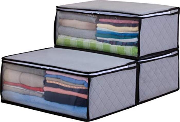 アストロ 収納ボックス 衣類用 3個 グレー 不織布