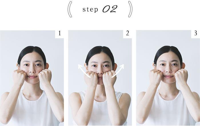 手を「ぐう」の形にして、小鼻のすぐ横の頬骨の下に置き、頬骨に向かって押し上げるように圧をかけながら耳の前まで手を移動させる(3回繰り返す)。
