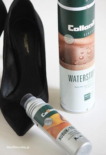 靴のメンテナンスはどのように行っていますか? まだ湿気が少ない梅雨前にはお手入れして、防水スプレーを吹きつけておきたいですね。 防水スプレーは湿気だけじゃなく、汚れ防止にもなります。  ※スプレーで変色しないか素材をチェックしてから行いましょう。