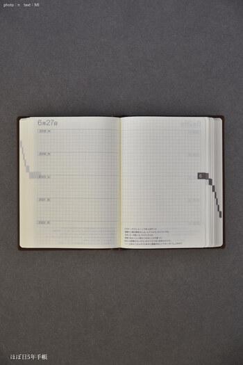 上の5年日記と違う点は、既に日付が記入されていること。ちゃんと各年の曜日まで書き込まれています。左ページが日記で、右側が自由欄。特に思い出深い日の写真を貼ったりしておけば、あとで思い出すのが楽しみになりますね。
