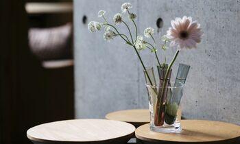 花瓶として使ったり、一口の飲み物やドレッシングなどを入れたり、さまざまな用途で活躍するシリンダー。どの使い方をしてもおしゃれに見えるほんのりカラーが魅力です。一輪挿しはもちろん、数種類の花をバランスよく飾りたいときにも、ポンポン挿すだけでサマになるのでお手軽。