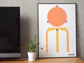 こちらもArtekのスツールが描かれたポスター。ビビットなオレンジ色が部屋をぱっと明るくしてくれます。見ていると元気が出てきそう!