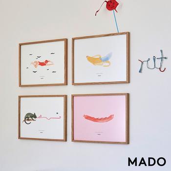 水彩風の柔らかな色合いで、見ているとほっこりするポスターです。モチーフの種類が豊富なので、きっとお気に入りが見つかるはず!一つ一つに名前や特徴があって、愛着が湧きますよ。