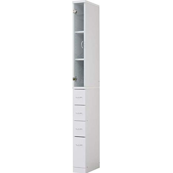 ワイエムワールド すき間収納 食器棚 ドルフィン 幅15cm ホワイト