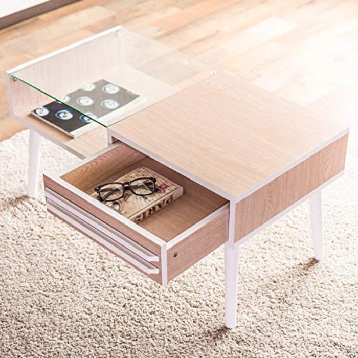 センターテーブル「UNO」 収納付きガラステーブル