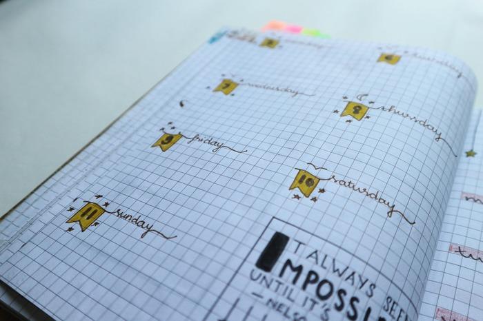 方眼ノートなら線をひかずに日にちや曜日だけ書き込め、線を引くよりも簡単です。