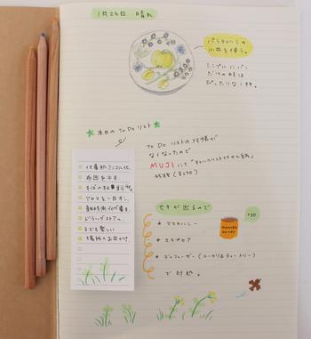 みしぇるさんは手帳だけでなく、ノートの使い方も素敵なんです♪ToDoリストを貼ったり、使ったお皿のイラストを描いたり、丁寧な暮らしぶりがうかがえますね。