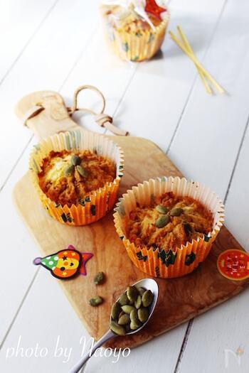 ハロウィンにもぴったりな、かぼちゃを使った砂糖の代わりに糖質オフマフィン。甘さは甘味料(ラカント)を使用。生おからを使うので、ヘルシー&お腹も大満足♪