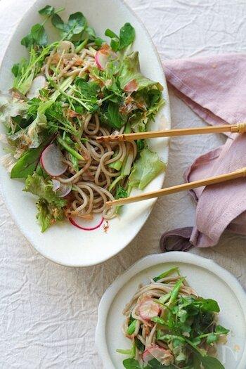蕎麦はさらっと食べられる食材なので、サラダに和えるのもおすすめ! たっぷりのお野菜と絡めて、酢やオリーブオイルで調味を。かつお節を混ぜ込むと、美味しさがUPします。彩りも鮮やかで、パーティーなどの前菜にもぴったりですね。