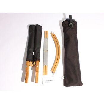 解体すると長さ58cmの袋に入れられるサイズになります。メイドインUSAのハンドメイド品です。