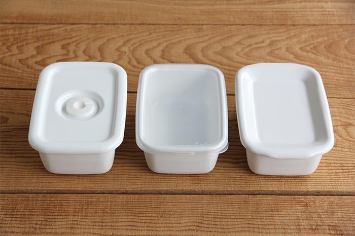 ふたは3種類から選べます。密閉性の高いシール蓋は、中身が見えるから常備菜を入れておくのに向いているかも。