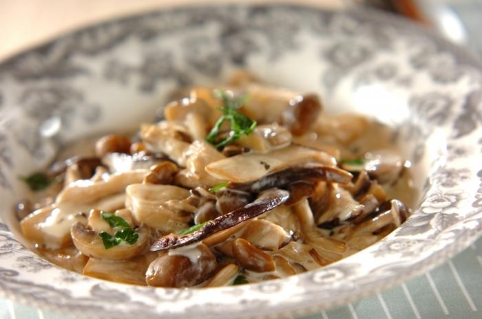 洋風メニューの副菜としてぴったりなきのこのクリーム煮は、しめじやマッシュルーム、エリンギなど数種類のきのこ類を使うことで旨みもアップ!きのこは食物繊維が豊富でローカロリー。ぜひたくさん取り入れましょう。 コクのあるクリーム煮を副菜にしたときは、ムニエルやホイル焼きなど、お魚を主菜としたメニューと組み合わせると味のバランスも良くなります。