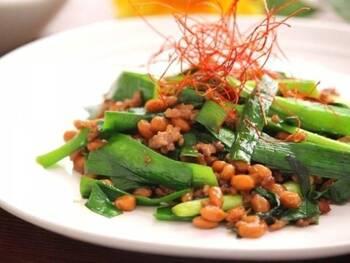 豚肉同様にビタミンBが多い納豆を組み合わせたレシピです。ニラには葉酸が含まれるので。ビタミンB群を多く取りたいときにもおすすめです。