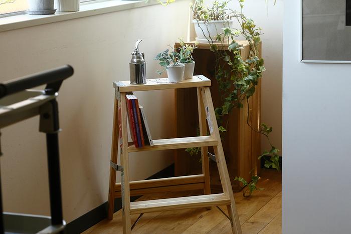 木製のシンプルな脚立。作業道具っぽさがありつつ、インテリアとしても使えるナチュラルさが魅力です。グリーンとの相性もぴったり!ささくれやへこみ、欠けなどがあっても、それがいい味になります。