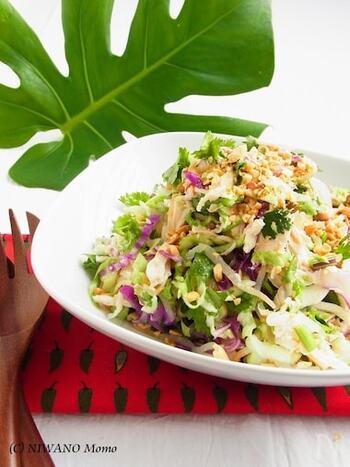 コリアンダーとナンプラーを使って、エスニック風に仕上げたサラダのレシピ。にんにく・赤唐辛子を加えることで、食欲をそそる一品が完成しています。  事前に、ねぎ・しょうがを加えて鶏胸肉を下ゆでしておくのが馴染みよく仕上げるポイント。ゆで汁は、塩などで味を調えるだけで美味しいスープになります。