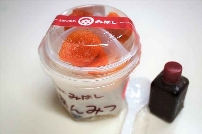 あんみつの他に、みつまめ、豆かんなどもお取り寄せ可能。杏あんみつは、ボリューミーで甘酸っぱい杏がクセになる味わいです。
