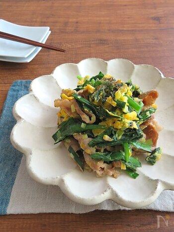 ねぎ塩風味で食欲そそられる味。おつまみにもぴったりで、ニラ&豚肉が入っているので夏のスタミナ不足にも効きます。