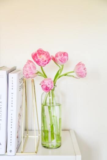気持ちがぱっと華やぐ花を生ければ、部屋の空気も一気に変わりますね。暮らしの中に草花を取り入れ、自然と本の世界へと集中できる空間を作りましょう。読書のためだけにグリーンを用意し、ミニテーブルにセットするのもおしゃれ。