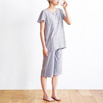 こちらはさらにメッシュ生地を部分を多くし通気性アップなパジャマ。通気性が良いのでお洗濯してもすぐに乾くのが嬉しいですよね。