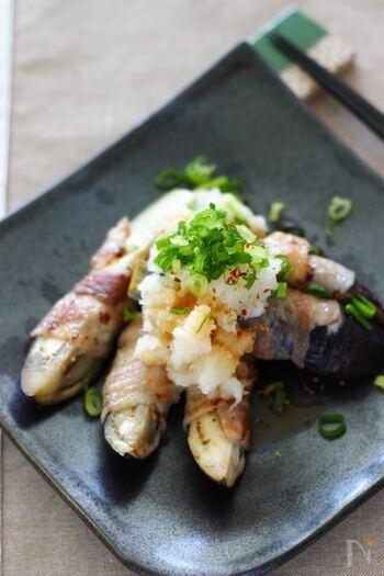 豚肉の旨みをナスがしっかり吸い取ってくれる、茄子の豚肉巻き。仕上げに大根と青ねぎをたっぷり添えて、ポン酢でさっぱりさせて、召し上がれ*