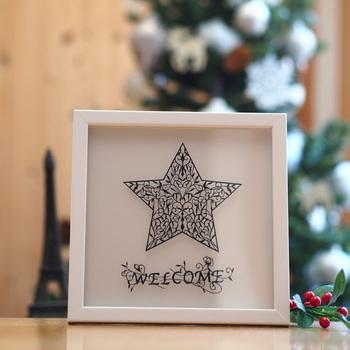 星をモチーフにしたオリジナルデザイン。とてもおしゃれで、左の写真のようなフレームに入れれば、素敵なインテリアになりますね。