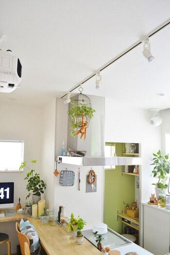 ダイニングやキッチンなどには、スポットライトやシーリングライトがおすすめ。広い範囲を照らすことができるので、ぱっと明るい食卓に♪