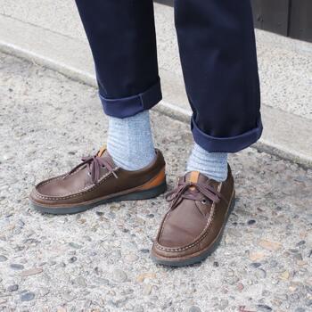 「くらしきぬ」の〈パイル5本指靴下〉は、かかと部分を作らないフリーサイズ設計。老若男女問わず使えます。5本指ソックスが初めての方にもおすすめの1足です。