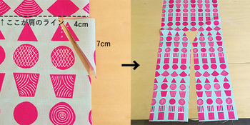 身頃は前後が繋がって1枚です。襟の部分をカットします。
