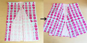 身頃におくみを縫い付けます。甚平の前の重なり部分ができました。