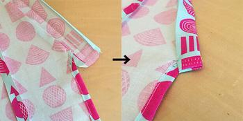 えりを付けていきます。首の後ろ部分から縫い始めましょう。その後、ポケットや紐を付けていきます。