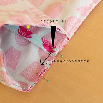 縫い付ける時はまち針を細かく留めておくのがポイントです。