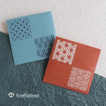 こちらは、青海波などの和のパターンを配したポチ袋。二重になっているので、中身は透けません。2種類の和柄デザインが粋ですね。