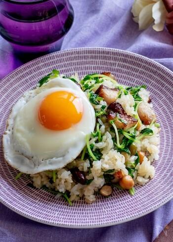 ランチにおすすめの豆苗炒飯。10分ほどで作れるので暑くてキッチンに立ちたくない日にもピッタリ。豆苗が彩りよく、チャーシューの切り落としが食欲をそそります。味付けは鶏ガラスープと醤油でシンプルに。食材の味がしっかりと楽しめそうです。