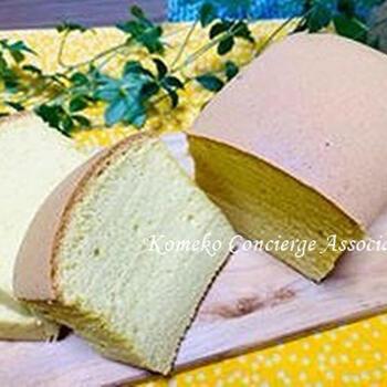 小麦粉を控えたい方には、米粉の台湾カステラがおすすめ。成功すれば、割れが生じたり、焼き縮みすることもないようです。