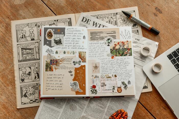 無機質なノートだと、書きたい気持ちになりにくく、創作意欲もわきません。自分らしくおしゃれにデコレーションして、毎日でも書きたくなるようなノートを作ってみてください。