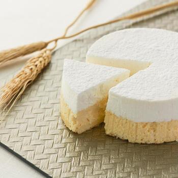 老舗和菓子屋「大三萬年堂」から誕生した和スイーツのブランド「HANARE」が手掛ける、「酒粕ちーずけーき」。酒粕を練りこんだ濃厚ベイクドチーズケーキと口当たりのよいチーズクリームを二層にした自慢のチーズケーキです。