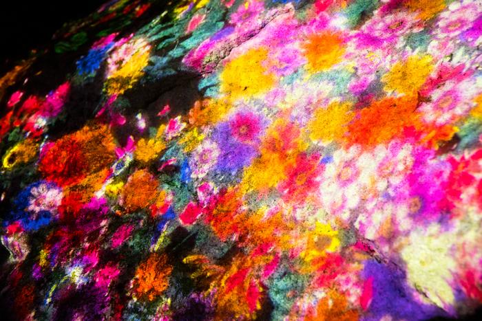 これは用意されていた映像を流しているのではなく、コンピュータプログラムがリアルタイムに描いているもの。 ずっと変化し続けるため、同じ絵を見ることはできません。その瞬間の花々の美しさや儚さを心に焼き付けましょう。