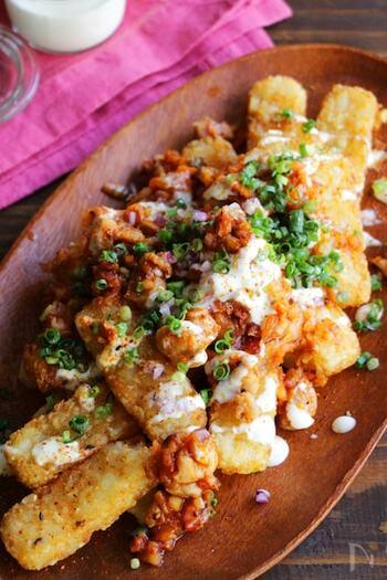 人気のチーズタッカルビを、ローディッドフライでも楽しんでみませんか?鶏もも肉にコチュジャンやキムチなど韓国食材を合わせ、クリームチーズを溶かしたソースをかけます。ピリ辛でクリーミー!