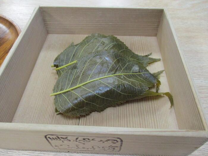 「長命寺桜もち」は、享保2年(1717年)に墨田川の土手に咲く桜の葉を使って作ったのが始まりとされ、3枚の桜葉で包まれているのが特徴です。お店の方によると、葉を食べるかどうかの決まりはないそう。1枚だけ食べたり、葉の香りを楽しんでおもちだけ食たり、それぞれ好みの食べ方を楽しんでくださいね。