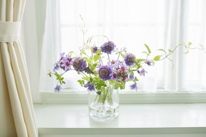 村上さんの実家にはいつもお花があったそう。キレイなお花があると自然とその周りにも気を遣うようになり、好循環のスイッチが入ります。村上さんによれば、花瓶に対して出ている花の縦:横を1:1にするのがお花を活ける黄金比なんだとか。花瓶の高さと出ている花の高さを均等に、そして花瓶の幅と花瓶から左右に出ている花の幅をそれぞれ同じぐらいにすると、バランスよく仕上がります。