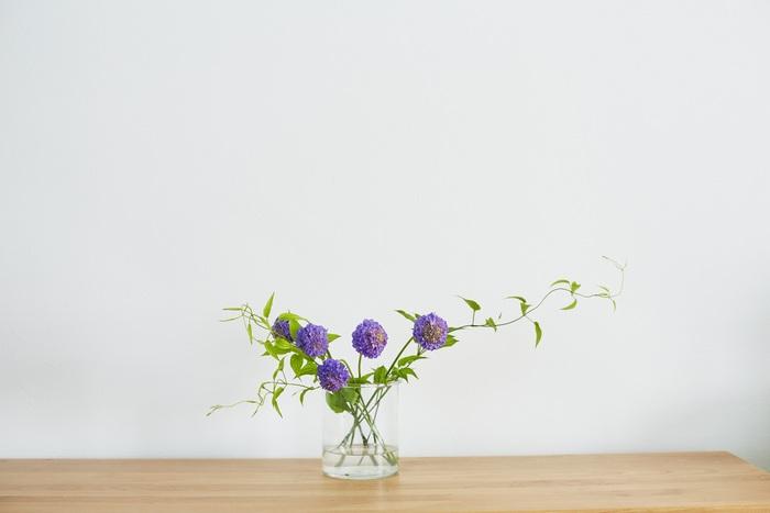 お花は「メイン+同系色のもの+一癖ある花」で選ぶとバランスよく仕上がります。まずはメインとなるお花を少し短めに切り、下に配置します。水につかっている葉は落とし、茎は斜めに切ると水をしっかり吸ってくれますよ。