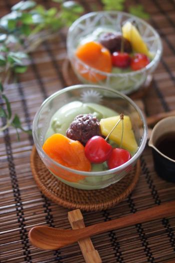 台湾スイーツの豆花(トウファ)を、気軽に作りやすいあんみつ風にアレンジしたこだわりのレシピ。ほろ苦い抹茶をミックスすることで、和テイストに仕上がっています。