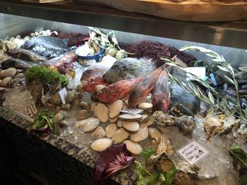 店内に入ると目を惹くのが魚介類が並ぶショーケース。こちらのお店にはグランドメニューがなく、アラカルトで注文するスタイル。炭焼きや煮込み、フリットなどお好みの調理法で魚介類をいただけます。