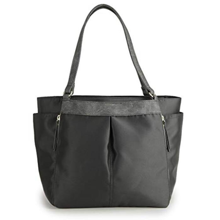 [プラグマ] PRAGMA きれいめナイロン 多機能トートバッグ ポケットいっぱい 収納たっぷりトート … (ブラック)