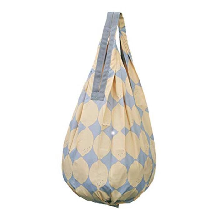 マーナ(MARNA) Shupatto (シュパット) コンパクトバッグ Drop (ドロップ) レモン 縦型 しずく 一気ににたためるエコバッグ S460LE バッグ使用時:28×56cm