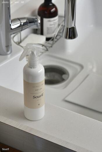 ぬめりやカビが気になる排水溝には、お掃除後にシュッとひと吹き。汚れが付きにくくしてくれます。