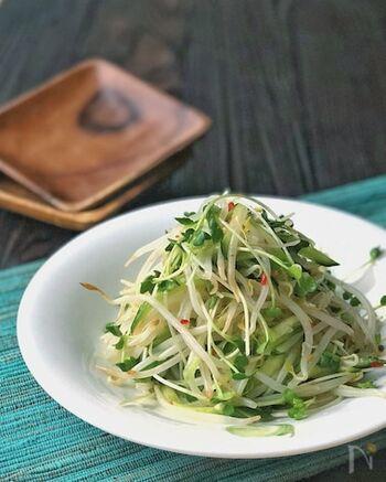 スイートチリソースとレモンを和えたさっぱりドレッシングのエスニック風サラダは、さっと茹でたもやしと水気を絞ったきゅうり、かいわれ大根のバランスが美味しさのポイント。  食べる直前にドレッシングで和えるようにすると、水っぽくなりません。