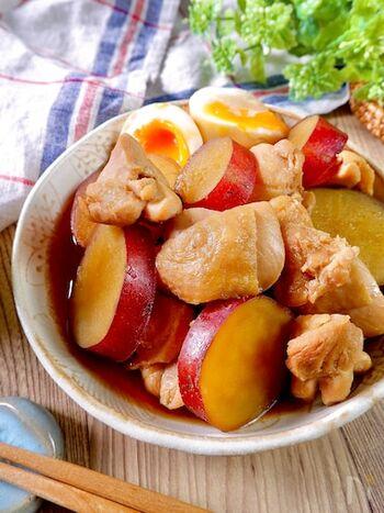 鶏肉の旨味とさつま芋の甘さが絶妙にマッチして、ご飯が進む一品です。たんぱく質と食物繊維がこれひとつでしっかりと摂れる、嬉しいでレシピです。